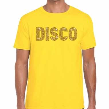 Disco goud letters fun t shirt geel heren