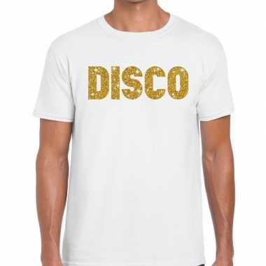 Disco goud letters fun t shirt wit heren