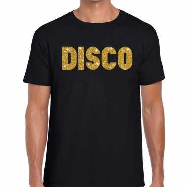 Disco gouden letters fun t shirt zwart heren