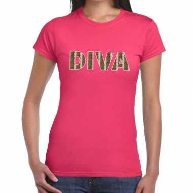Diva slangen print fun t shirt roze dames