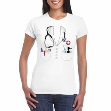 Dokters verkleedkleding t shirt wit dames