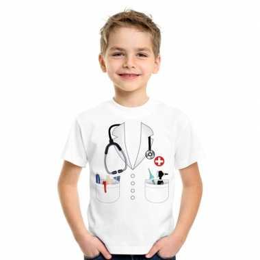 Dokters verkleedkleding t shirt wit kinderen