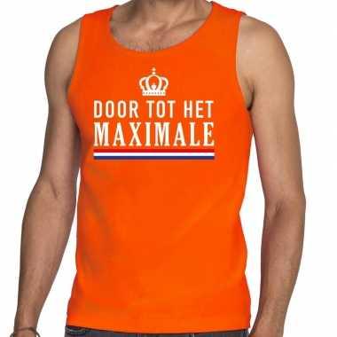 Door tot maximale tanktop / mouwloos shirt oranje heren
