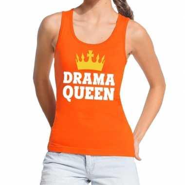 Drama queen tanktop / mouwloos shirt oranje dames
