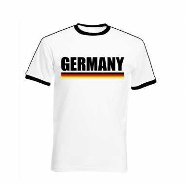 Duitse supporter ringer t shirt wit zwarte randjes heren