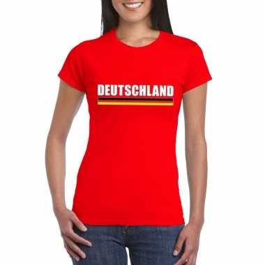 Duitse supporter t shirt rood dames