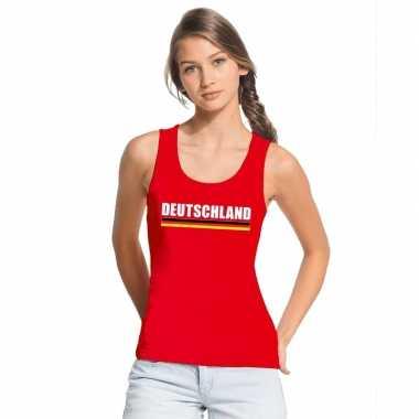 Duitsland supporter mouwloos shirt/ tanktop rood dames