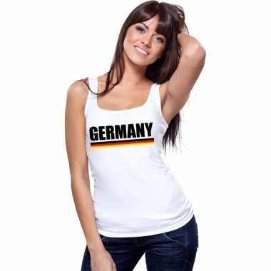Duitsland supporter mouwloos shirt/ tanktop wit dames