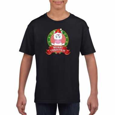 Eenhoorn kerstmis shirt zwart kinderen