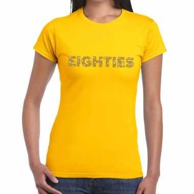 Eighties goud fun t shirt geel dames