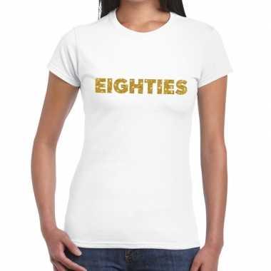 Eighties goud fun t shirt wit dames