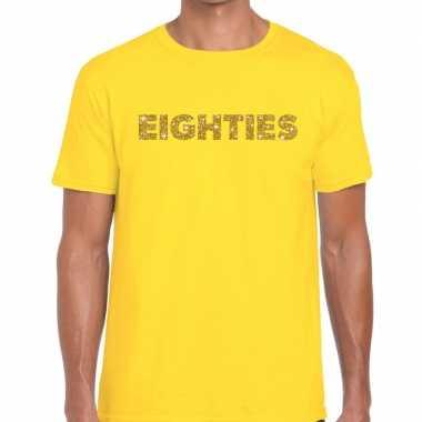Eighties goud letters fun t shirt geel heren