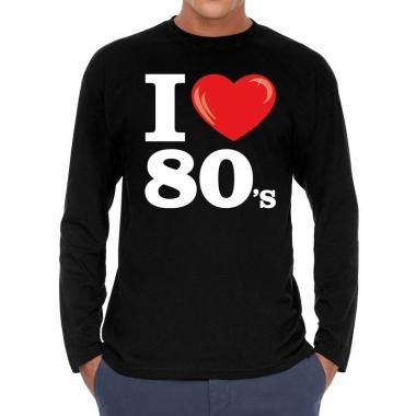 Eighties long sleeve shirt i love 80s bedrukking zwart heren