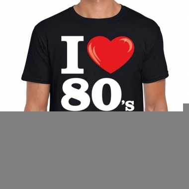 Eighties shirt i love 80s bedrukking zwart heren