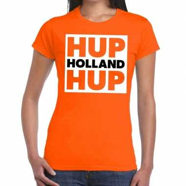 Ek / wk supporter t shirt hup holland hup oranje dames