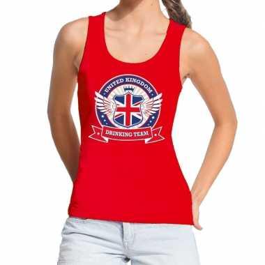 Engeland drinking team tanktop / mouwloos shirt rood dames