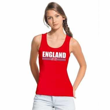 Engeland supporter mouwloos shirt/ tanktop rood dames