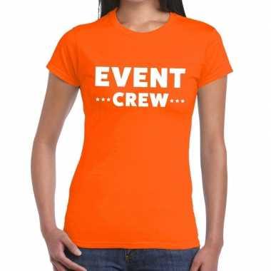 Evenement crew t shirt oranje event crew bedrukking dames