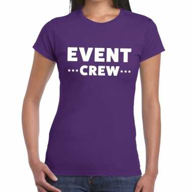 Evenement crew t shirt paars event crew bedrukking dames