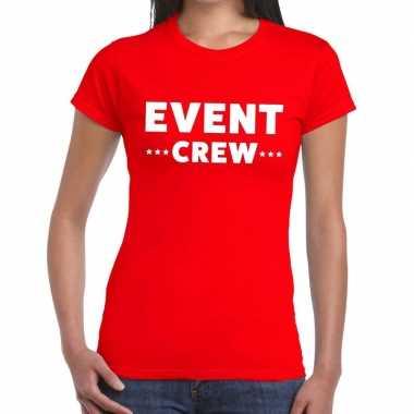 Evenement crew t shirt rood event crew bedrukking dames