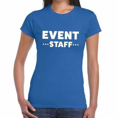 Evenement personeel t shirt blauw event staff bedrukking dames