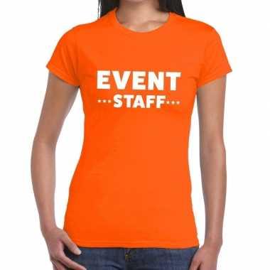 Evenement personeel t shirt oranje event staff bedrukking dames