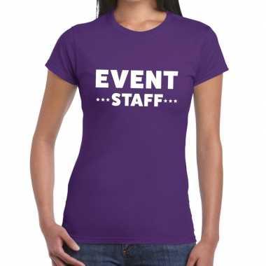 Evenement personeel t shirt paars event staff bedrukking dames