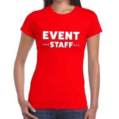 Evenement personeel t shirt rood event staff bedrukking dames