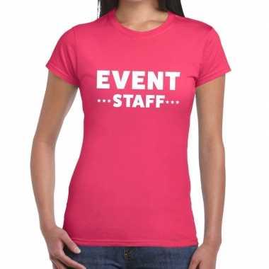 Evenement personeel t shirt roze event staff bedrukking dames