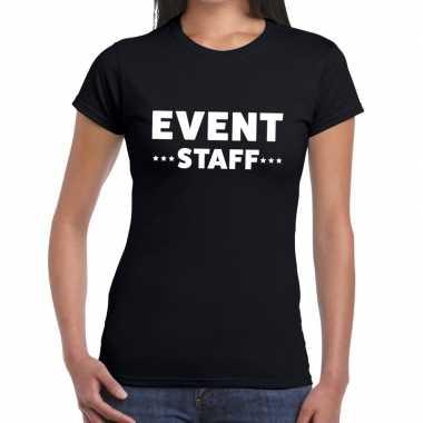 Evenement personeel t shirt zwart event staff bedrukking dames