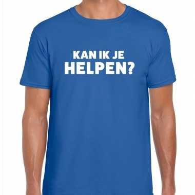 Evenementen tekst t shirt blauw kan ik je helpen bedrukking heren