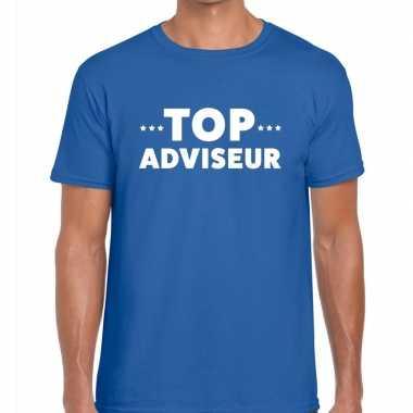 Evenementen tekst t shirt blauw top adviseur bedrukking heren