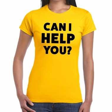 Evenementen tekst t shirt geel can i help you bedrukking dames