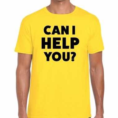 Evenementen tekst t shirt geel can i help you bedrukking heren