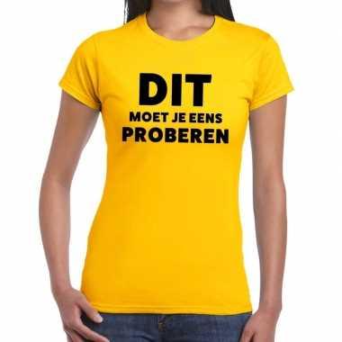 Evenementen tekst t shirt geel dit moet je eens proberen bedrukking d