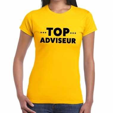Evenementen tekst t shirt geel top adviseur bedrukking dames