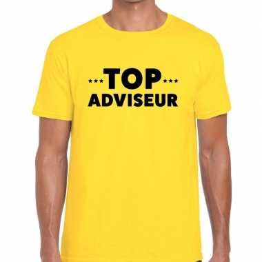 Evenementen tekst t shirt geel top adviseur bedrukking heren