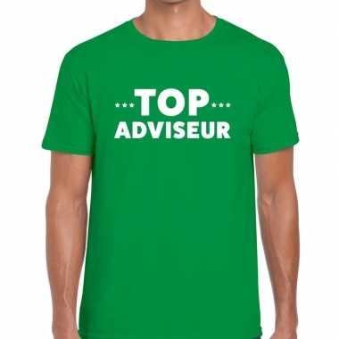 Evenementen tekst t shirt groen top adviseur bedrukking heren