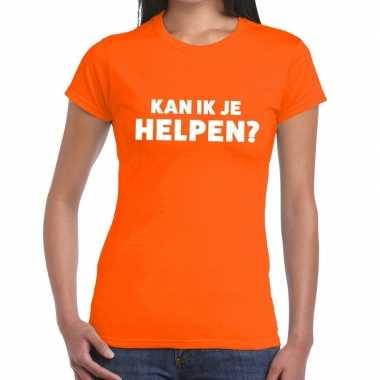 Evenementen tekst t shirt oranje kan ik je helpen bedrukking dames