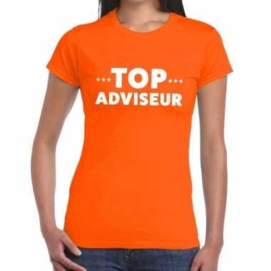 Evenementen tekst t shirt oranje top adviseur bedrukking dames