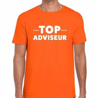 Evenementen tekst t shirt oranje top adviseur bedrukking heren