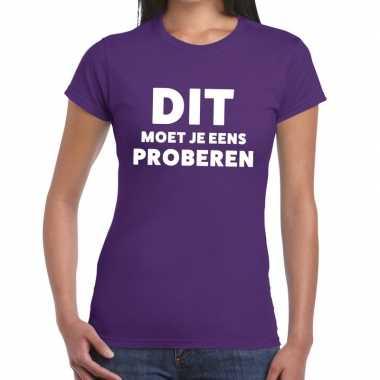 Evenementen tekst t shirt paars dit moet je eens proberen bedrukking