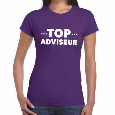Evenementen tekst t shirt paars top adviseur bedrukking dames