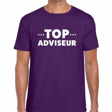 Evenementen tekst t shirt paars top adviseur bedrukking heren