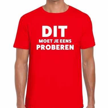 Evenementen tekst t shirt rood dit moet je eens proberen bedrukking h