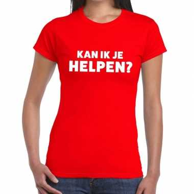 Evenementen tekst t shirt rood kan ik je helpen bedrukking dames