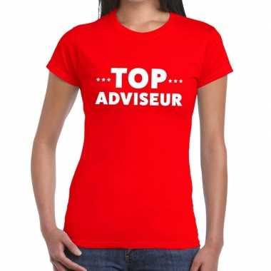Evenementen tekst t shirt rood top adviseur bedrukking dames