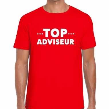 Evenementen tekst t shirt rood top adviseur bedrukking heren