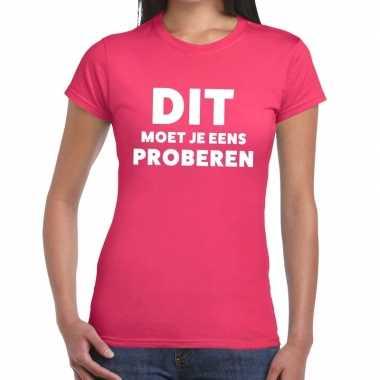Evenementen tekst t shirt roze dit moet je eens proberen bedrukking d
