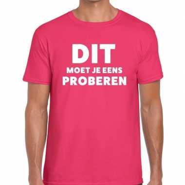 Evenementen tekst t shirt roze dit moet je eens proberen bedrukking h